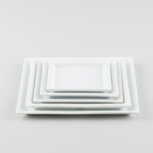 Square Plate with Risen Narrow Rim - White (S)