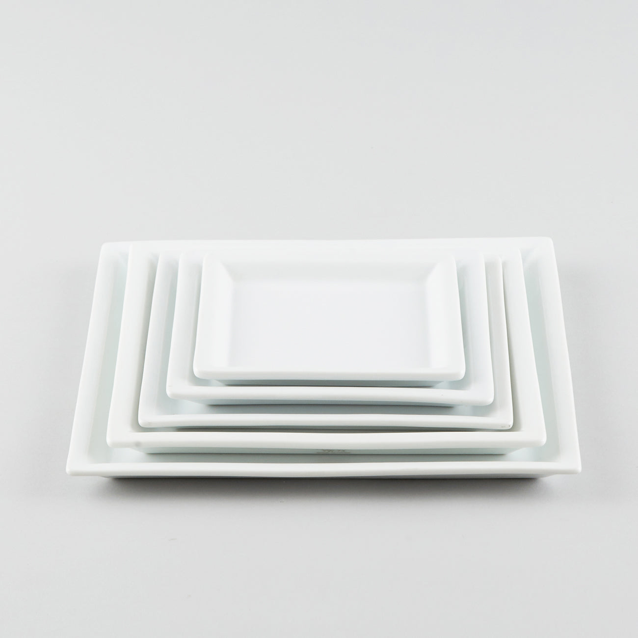 Square Plate with Risen Narrow Rim - White (SS)