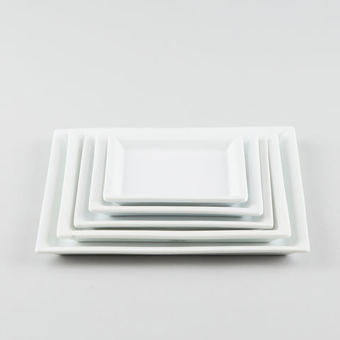 Square Plate with Risen Narrow Rim - White (M)