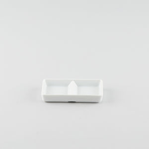 Rectangle 2 Compartment Sauce Dish - White