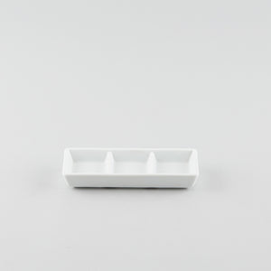 Rectangle 3 Compartment Sauce Dish - White