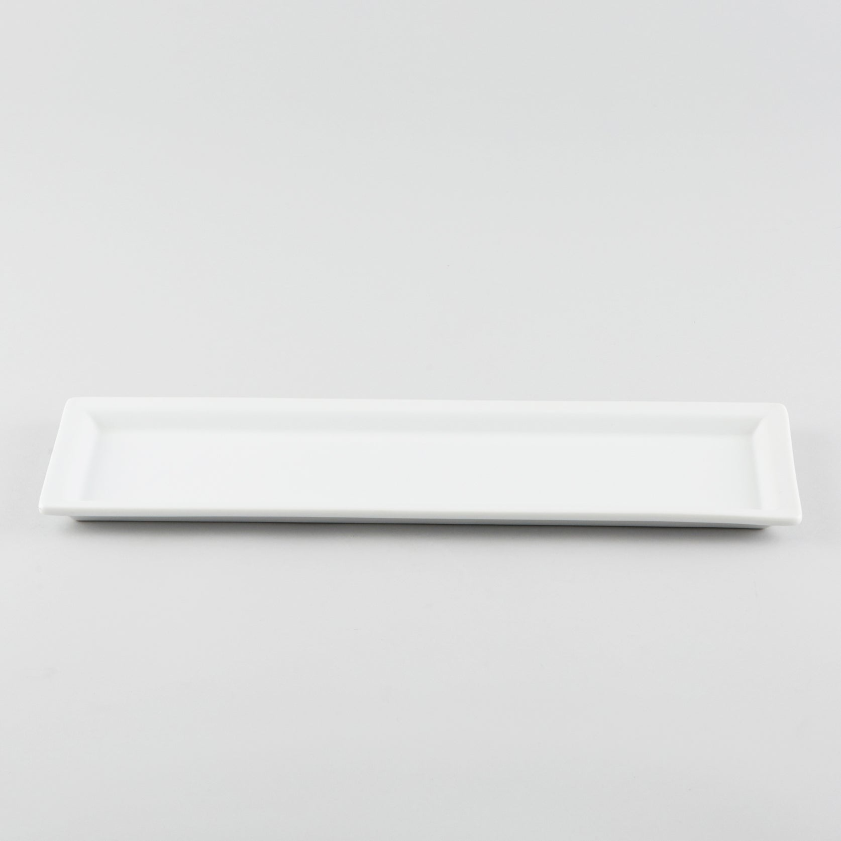 Rectangle Plate with Risen Rim - White