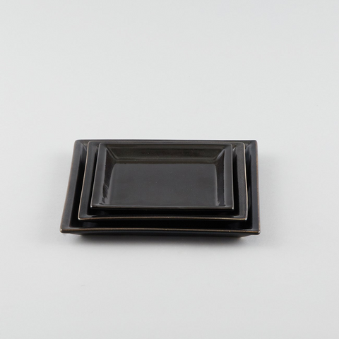 Square Plate with Risen Narrow Rim - Black (Ss)