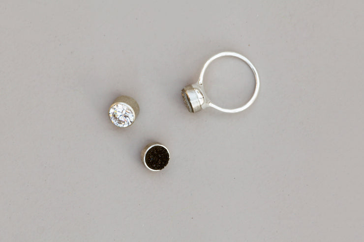 Ring set silver 9 mm