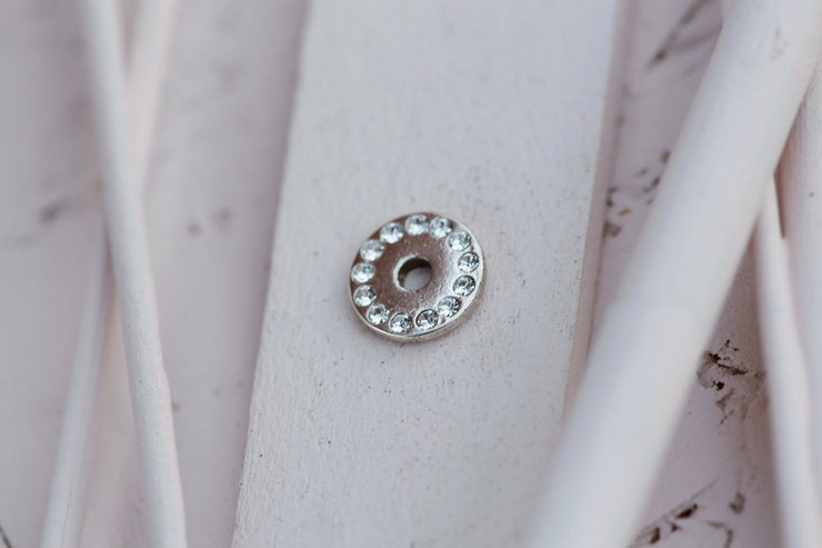 SWAROVSKI BEADED DISC 9MM SILVER