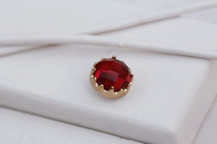 DARK RUBY BEZEL PRONG STONE 12MM BRONZE