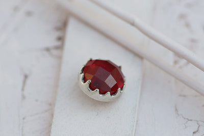 DARK RUBY BEZEL PRONG STONE 12MM SILVER
