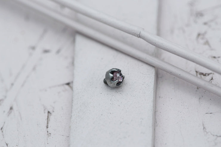 ROSE BEZEL PRONG STONE 4MM SILVER