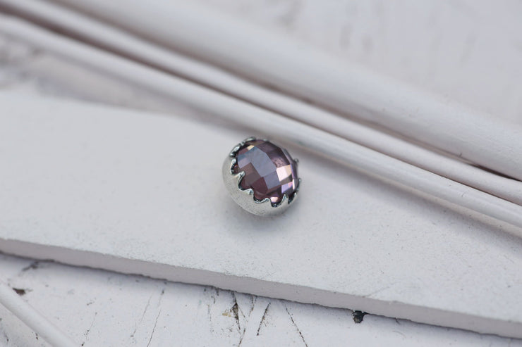 ROSE BEZEL PRONG STONE 9MM SILVER