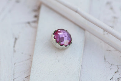 BLUSH BEZEL PRONG STONE 9MM SILVER