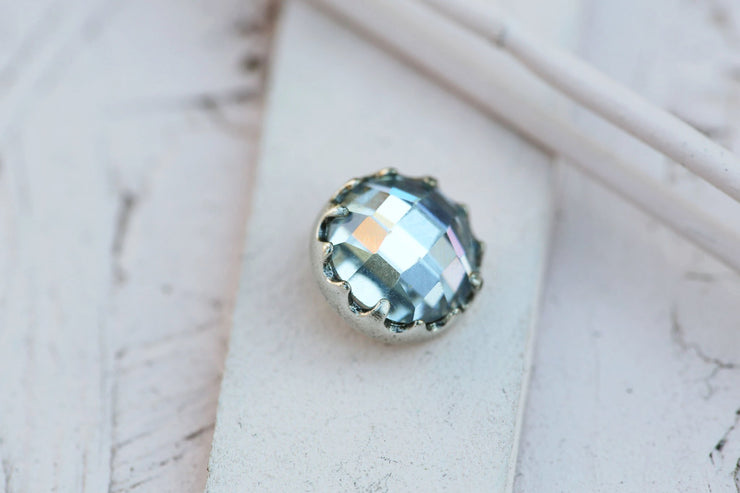 CLEAR BEZEL PRONG STONE 12MM SILVER