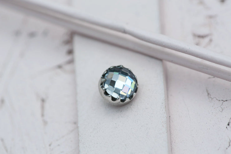 CLEAR BEZEL PRONG STONE 9MM SILVER