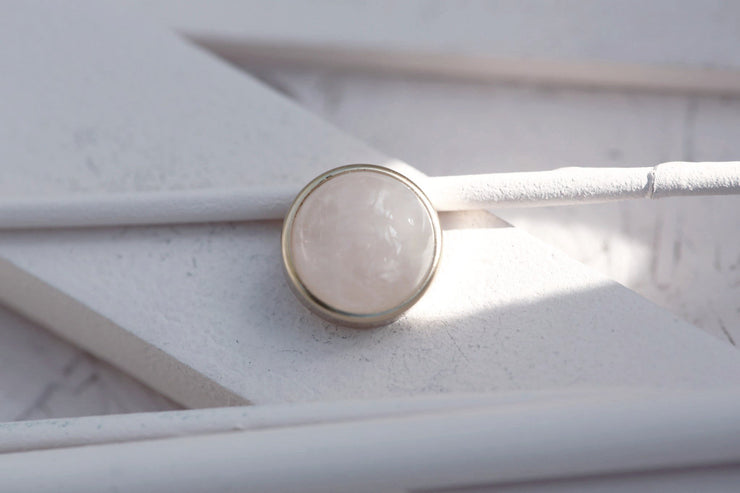 ROSE QUARTZ CABOCHON STONE 12MM BRONZE