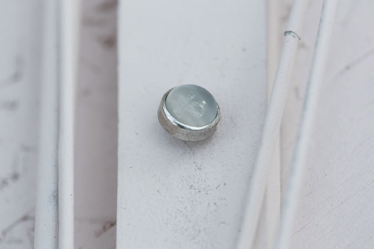 WHITE CAT EYE CABOCHON STONE 9MM SILVER