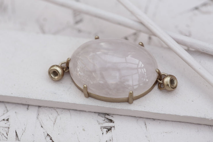 ROSE QUARTZ PRONG SET OVAL 18X25MM SILVER