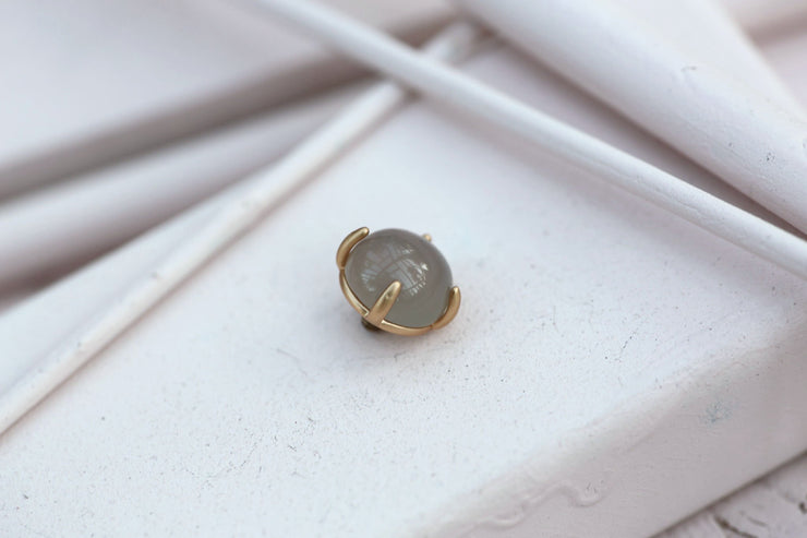 GREY MOONSTONE PRONG STONE 10MM BRONZE