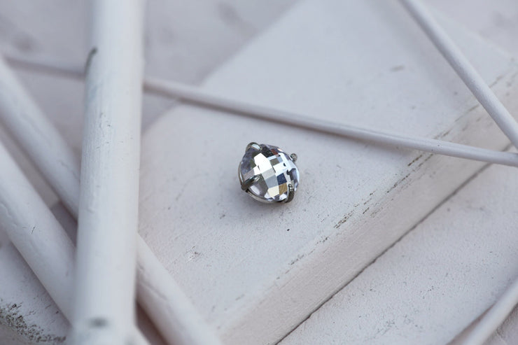 POWDER PRONG STONE 10MM SILVER