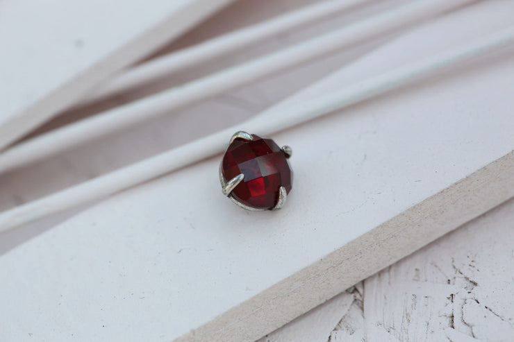 RUBY PRONG STONE 10MM SILVER