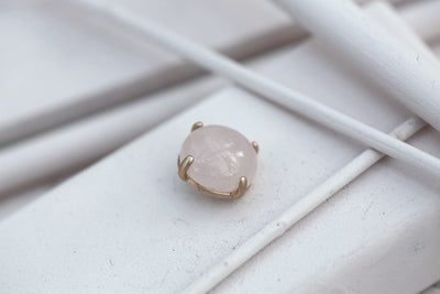 ROSE QUARTZ PRONG STONE 14MM BRONZE