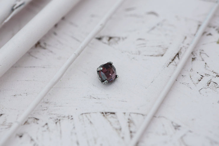 ROSE PRONG STONE 4MM SILVER