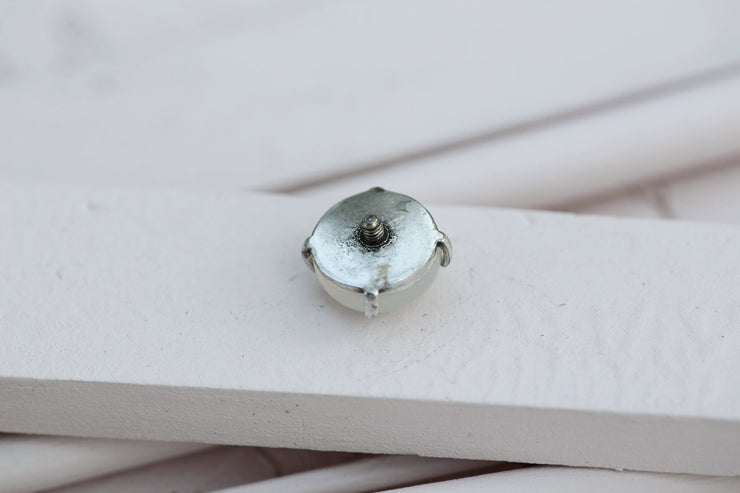 WHITE MOONSTONE PRONG STONE 14MM SILVER