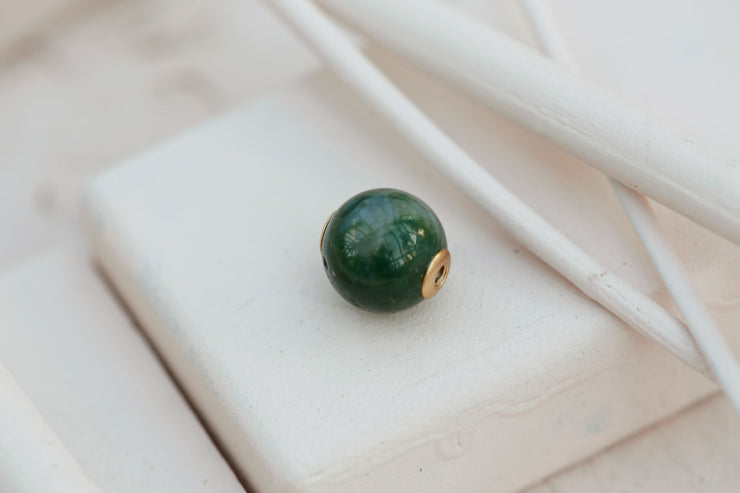 GREEN AGATE ROUND BEAD CONTINUE 10MM