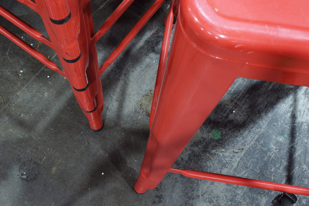 Red Metal Stool