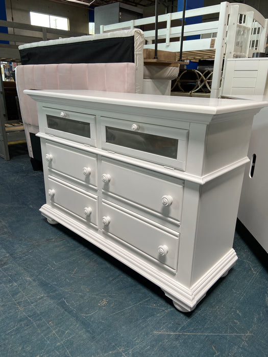 White Mirrored Front Dresser