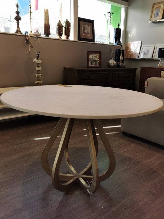 Marble Round Table with Gold Accent