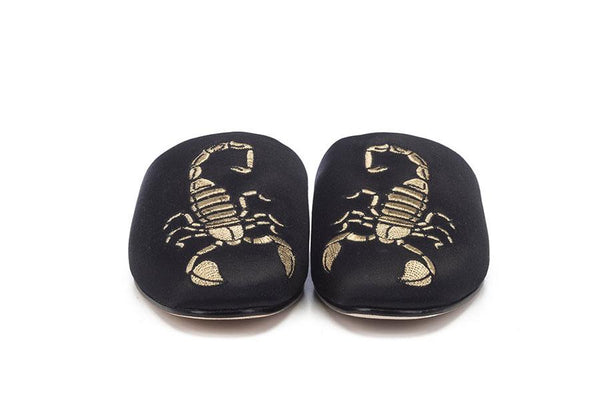 Alexandra Japanese Slide - Black Satin & Gold