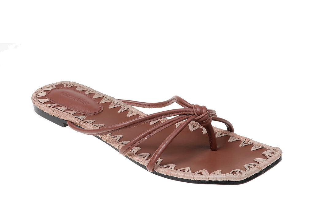 Azeline Flat Sandal - Taupe & Brown