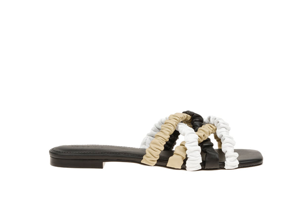 Theresa Scrunchie Sandal - Black / Cream / Beige