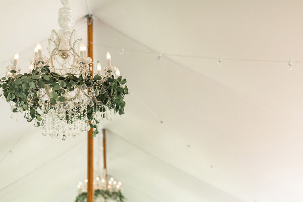 Greenery Chandeliers Tent Decorating Ideas