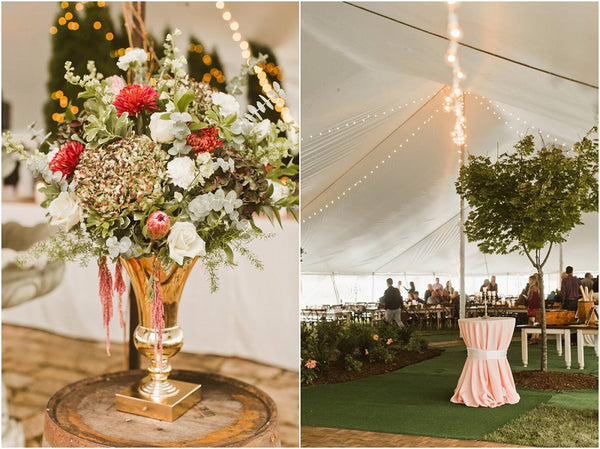 Over the Top Centerpieces Tent Decorating Ideas