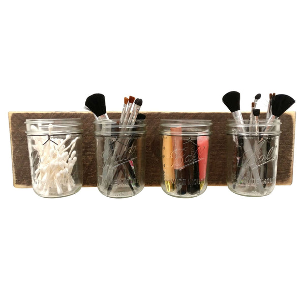 Mason Jar Wall Organizer Dark Wood
