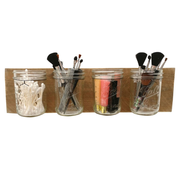 Mason Jar Wall Organizer Reclaimed Wood