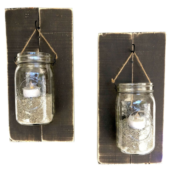Mason Jar Wall Sconces Dark Wood