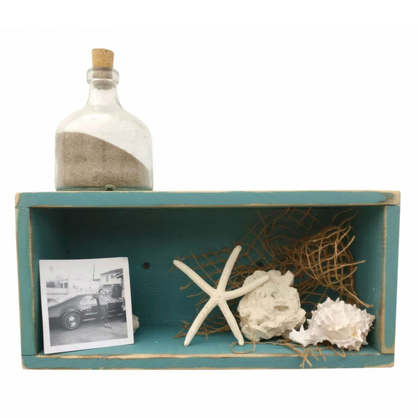 Rustic Shadow Box Beach Blue