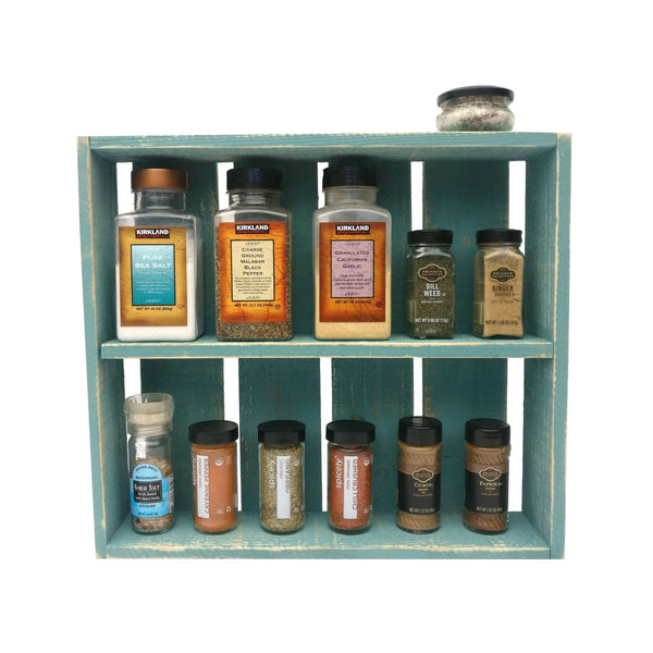 Rustic Spice Rack Beach Blue