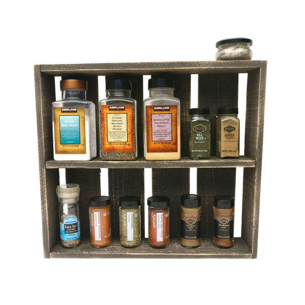 Rustic Spice Rack Dark Wood