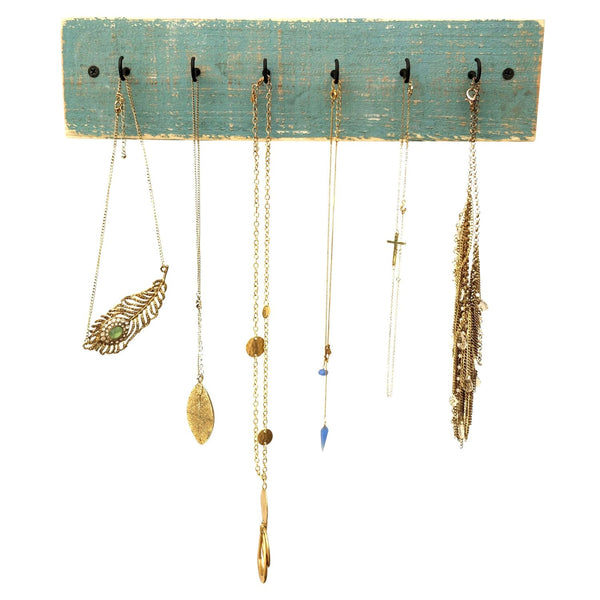 Rustic Wood Necklace Holder Beach Blue
