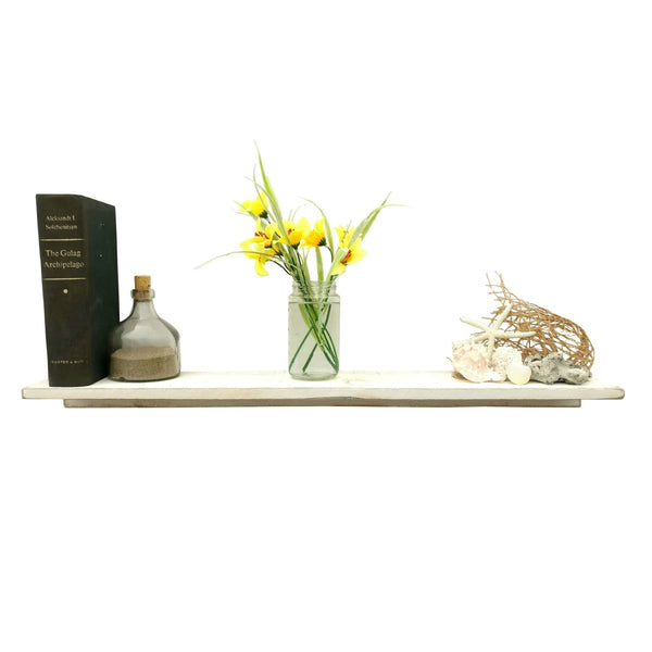 Rustic Wood Shelf White / Shabby Chic
