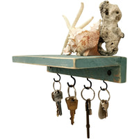 Shelf With Key Hooks Beach Blue