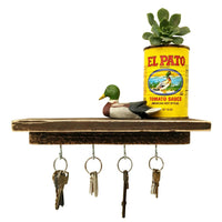 Shelf With Key Hooks Dark Wood