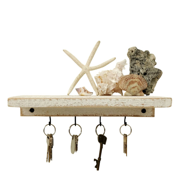 Shelf With Key Hooks White / Shabby Chic