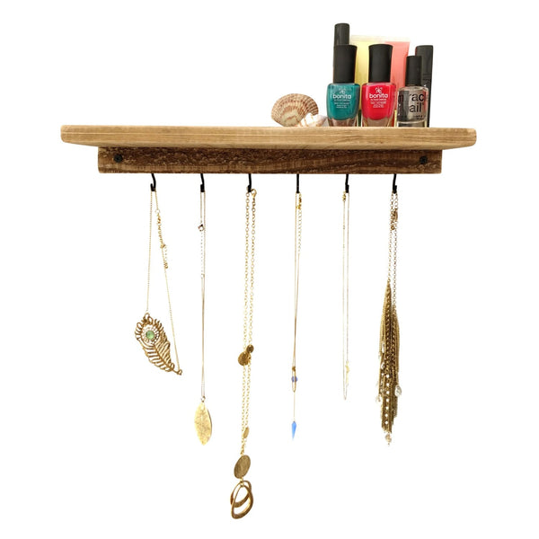 Shelf With Necklace Hooks Reclaimed Wood