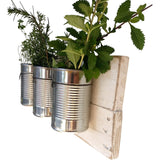Tin Can Wall Planter White / Shabby Chic