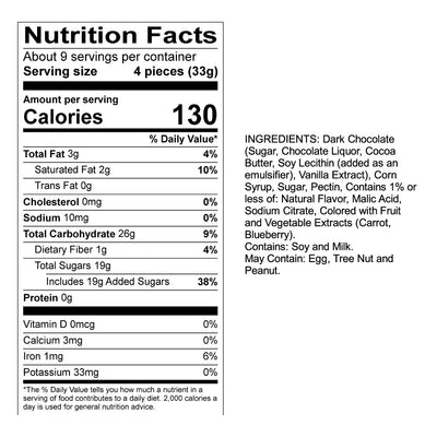 Dark Chocolate Blueberry Sticks Nutrition Panel & Ingredients