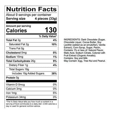 Dark Chocolate Orange Sticks Nutrition Panel & Ingredients
