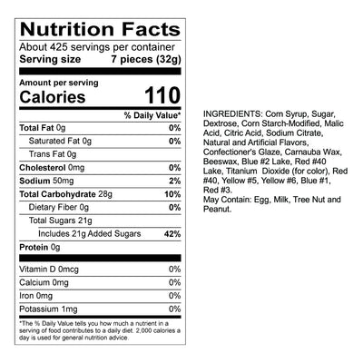 Assorted Fruit Sours Nutrition Panel & Ingredients